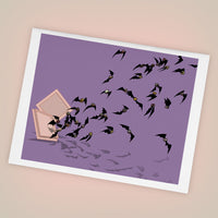 Chocolate Flying Bats Greeting Cards Set of FOUR - Yay for Fidget Art!