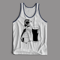 Made-To-Order Beer Penguin Tri-Blend Unisex Tank Top - Yay for Fidget Art!