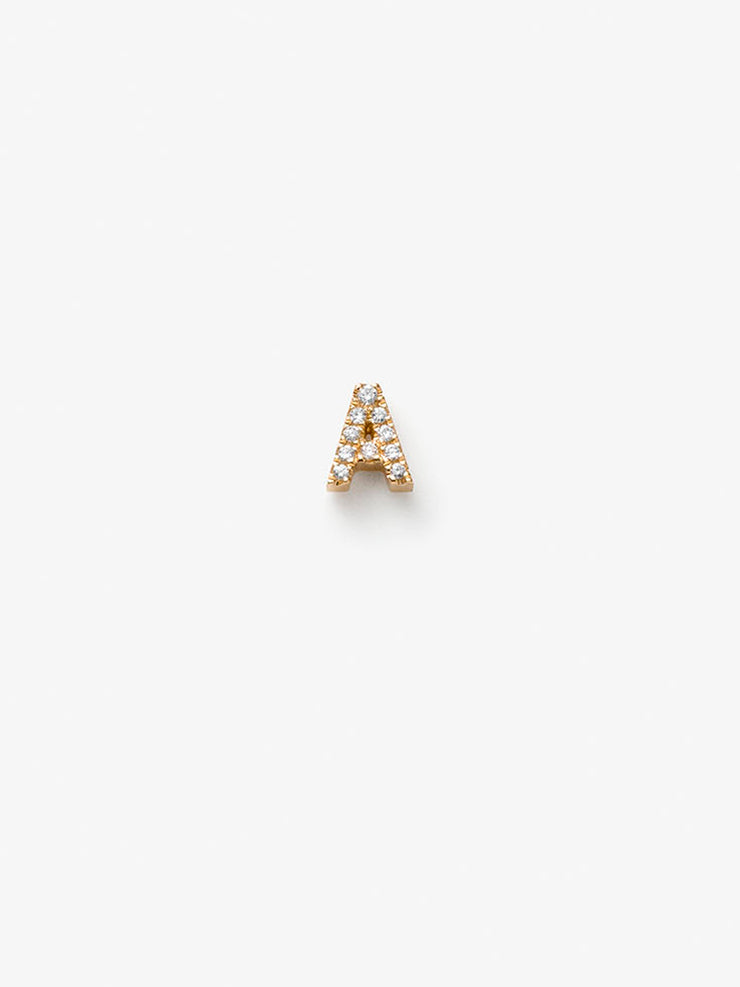 Discover our handcrafted 18-karat solid gold Love Letters Diamond Single Stud Earring, petite A-Z letters. Create a pair using initials, hearts and stars.
