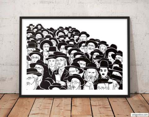 Contemporary and humoristic black and white Judaica Pop Art of Charlie Chaplin in the middle of an Orthodox Jewish crowd.