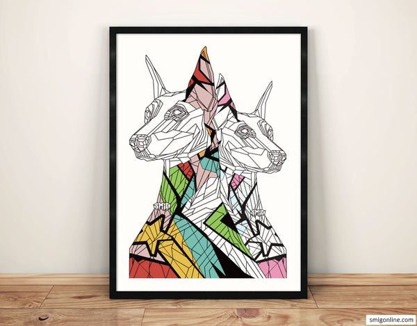Set of 2 - Doberman Dogs and the Tribal Woman