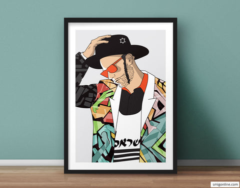 Humoristic Judaica Pop Art of an Orthodox Jewish holding his hat and thinking