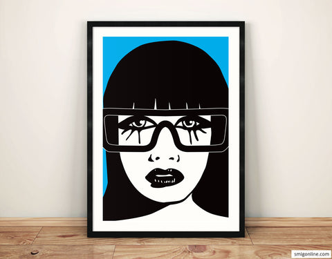 Sexy Woman With Glasses on blue background color