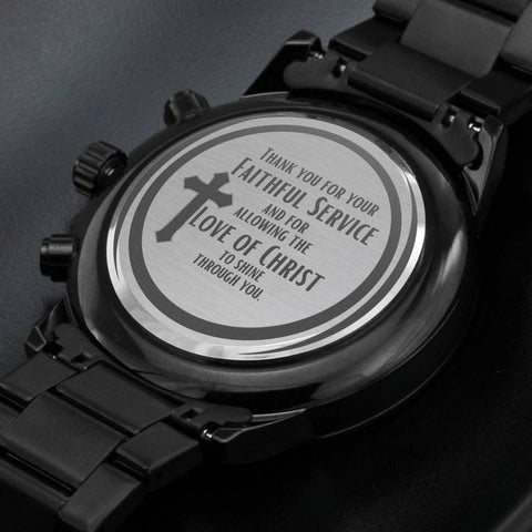 engraved watch as retirement gift for christian