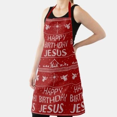 #12 happy birthday jesus apron Christian christmas gifts for wife