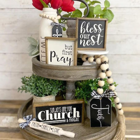 #13 Faith black & white tiered tray House Blessing Gifts Ideas (Christian Themed)