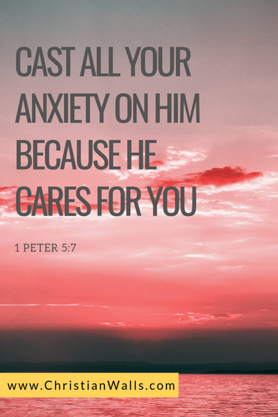 1 Peter 5 7 Cast all your anxiety on Him because He cares for you picture print poster bible verse