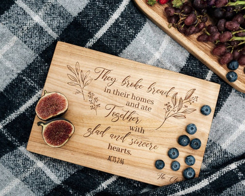 2. Acts 2 46 cutting board Christian Gift for Pastors jpg