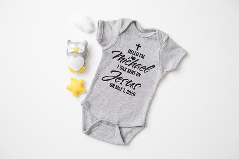#2 Jesus sent me onsie Christian personalized baby gifts