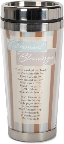 christian retirement stainless steel mug with bible verse on it