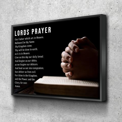 The Lords Prayer canvas with man praying