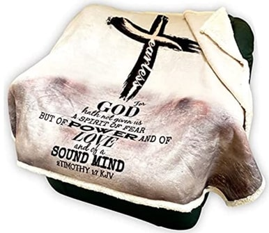 #5 2 Timothy 1 7 Get Well Throw Blanket Christian Get-Well Gifts