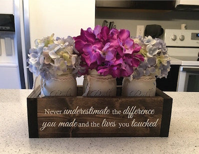 never underestimate the difference you made Christian retirement flower box gift on table