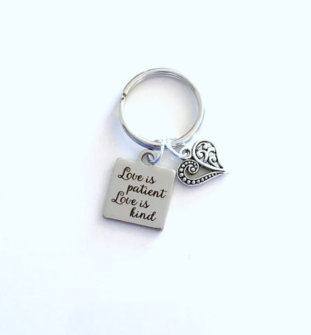 #5 love is patient keychain Christian Anniversary Gift for Husband