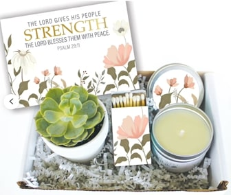 #5 psalm 29 11 candle gift box Christian valentines gifts for her