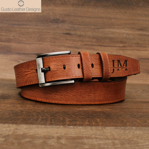 #6 personalized leather belt Christian Anniversary Gift for Husband