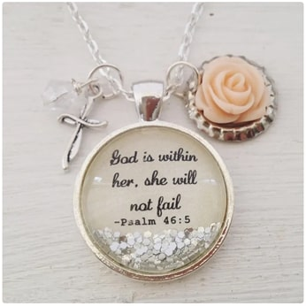 #6 psalm 46 5 necklace Christian valentines gifts for her