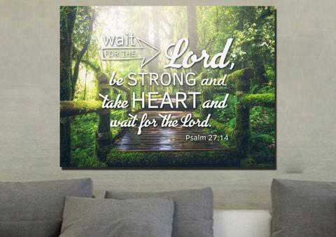 #8 Psalm 27 14 canvas christian gifts for mom