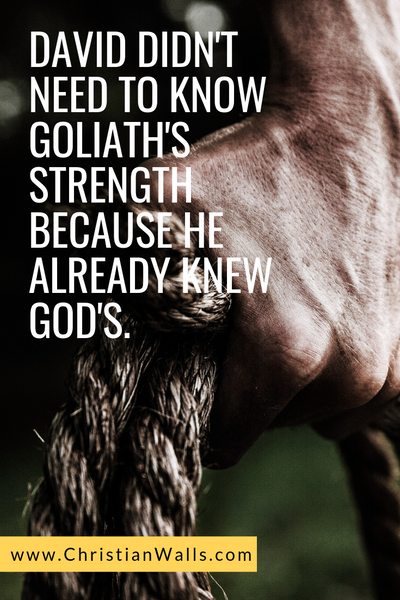 David didn't need to know Goliath's strength because he already knew God's picture print poster christian quote
