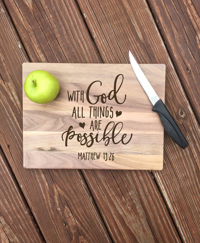 Engraved Cutting Board With God All Things Are Possible Christian gifts for grandma