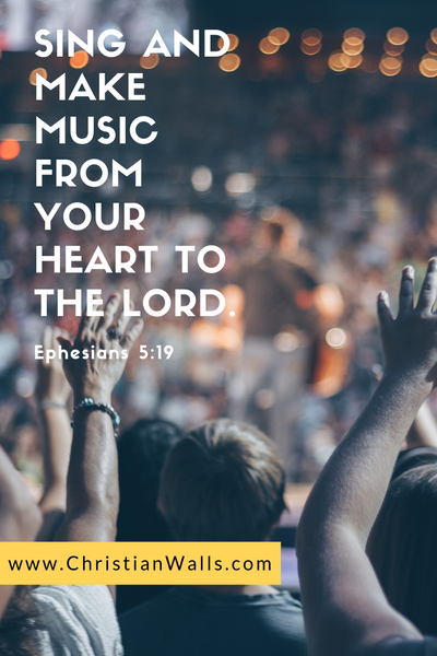 Ephesians 5 19 Sing and make music from your heart to the Lord picture print poster bible verse