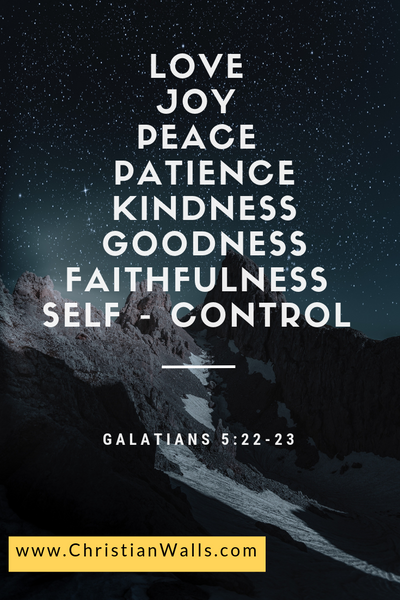 Galatians 5 22-23 Love Joy Peace Patience Kindness Goodness Faithfulness Self-control picture print poster bible verse