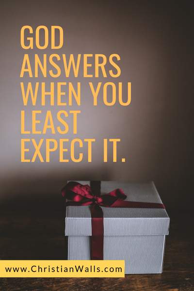 God answers when you least expect it picture print poster christian quote