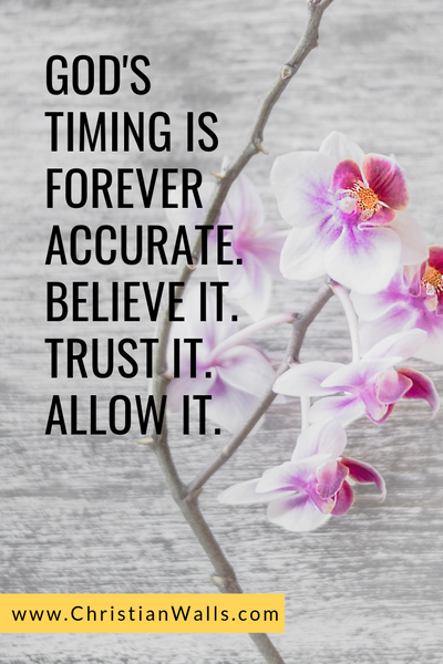 God's timing is forever accurate Believe it Trust it Allow it picture print poster christian quote