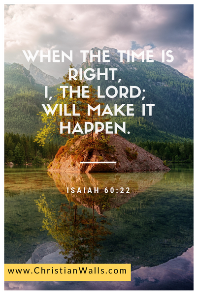 Isaiah 60 22 When the time is right I the Lord will make it happen picture print poster bible verse