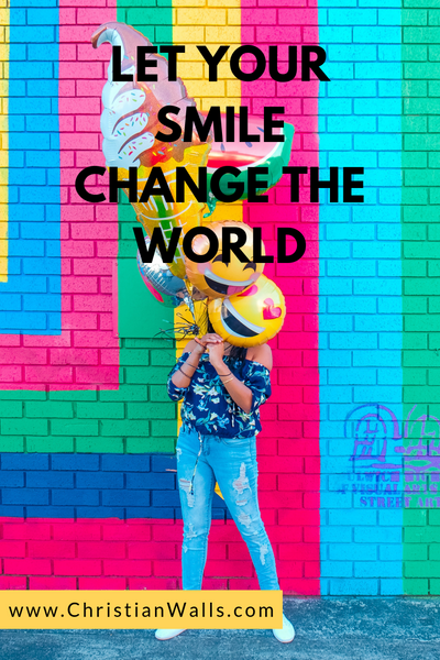 Let your smile change the world picture print poster christian quote