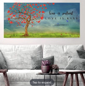 Love is Patient, Love is Kind Canvas gift for christian couples