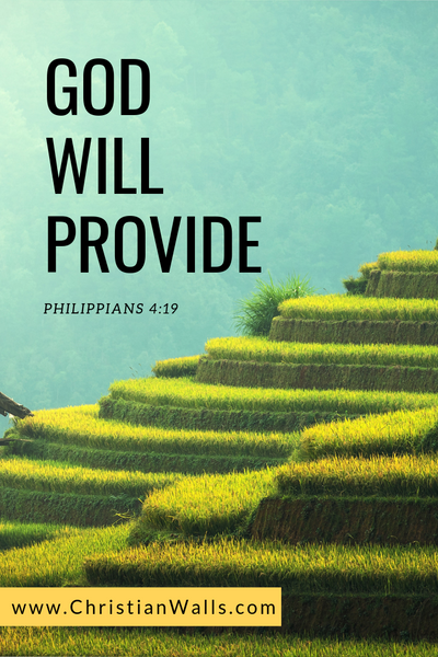 Philippians 4 19 God will provide picture print poster bible verse