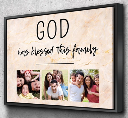 God has blessed this family canvas print in livingroom