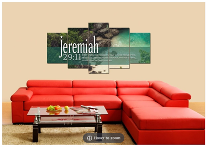 for I have plans for you canvas print in living room above sofa
