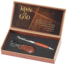 Man of God 2 Piece Metal Woodgrain Ballpoint Pen and Leatherette Keychain Gift Boxed Set