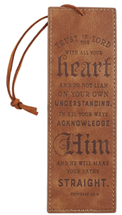 Brown Faux Leather Bookmark | Trust in The Lord - Proverbs 3:5