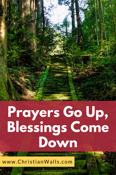 Prayers go up, blessings come down picture print poster christian quote