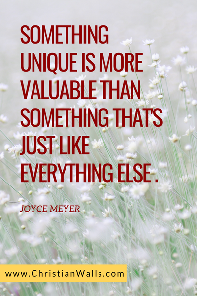 Something unique is more valuable than something that's just like everything else - Joyce Meyer picture print poster christian quote