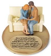 Praying Husband Wife United in The Spirit 6 x 4.5 Cast Stone Sculpture