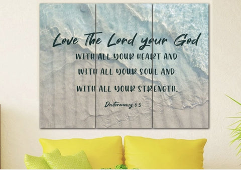 love the lord your god wall art above couch