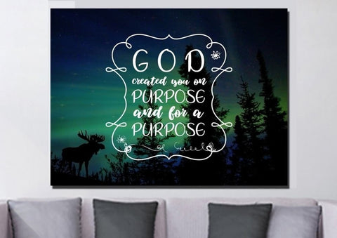 God created you with a purpose wall art canvas