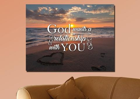 God wants a relationship with you wall art canvas