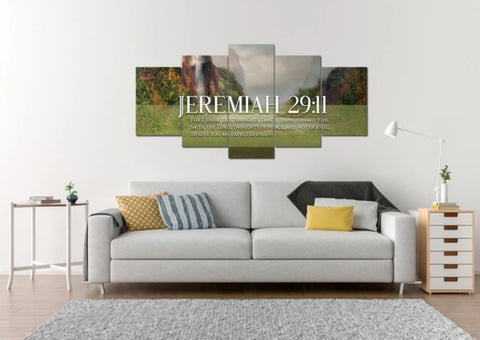 multi panel canvas with jeremiah 29 11 above sofa
