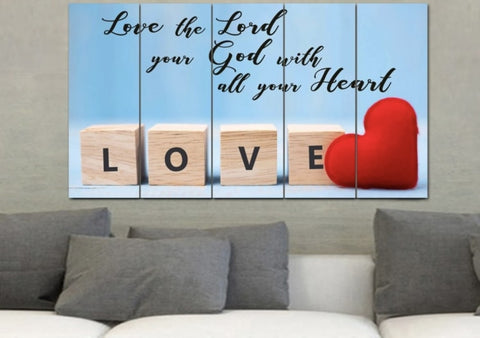love god with your heart, soul and mind 5 piece canvas above brown sofa