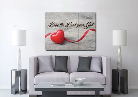 Love God wall art for your home in brown and red