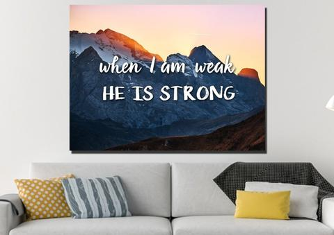 God is strong wall art canvas