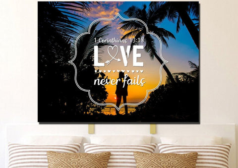 Image of 1 Corinthians 13:18 Love Never Fails Bible Verse Canvas Wall Art