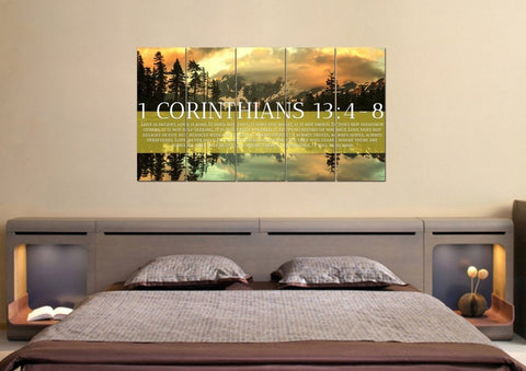 1 Corinthians 13:4-8 Love is Patient, Love is Kind. It Does not Envy Bible Verse Canvas Wall Art