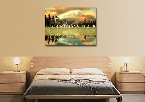 Image of 1 Corinthians 13:4-8 Love is Patient, Love is Kind. It Does not Envy Bible Verse Canvas Wall Art