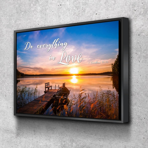 1 Corinthians 16:14 NIV #1 Do everything in Love Bible Verse Canvas Wall Art